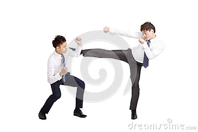 asian businessman fighting