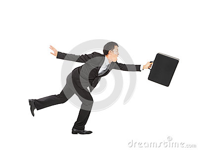 Asian Businessman running