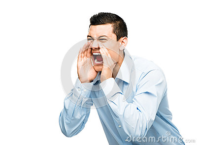 Asian businessman shouting angry isolated white background