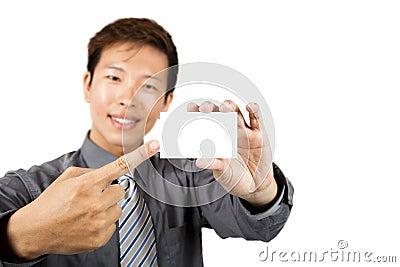 Asian businessman show business card