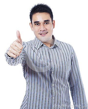 Free Asian Businessman Showing Thumb Up Royalty Free Stock Photo - 33707235