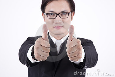 Asian Businessman showing thumbs up