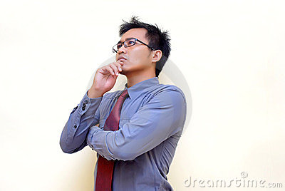 asian businessman thinking