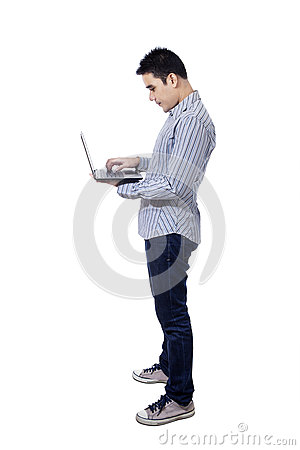 Asian businessman using a laptop