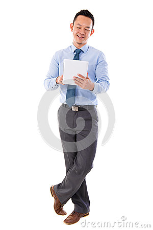 Asian businessman using tablet-pc