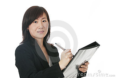 Asian Businesswoman With Black Folder