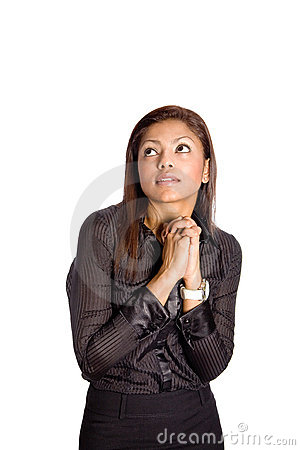 Asian businesswoman with both hands clasp together