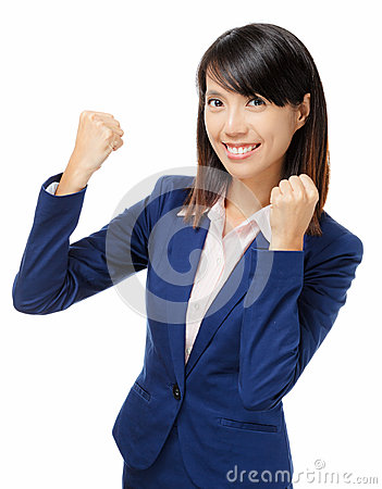 Asian businesswoman feeling excited