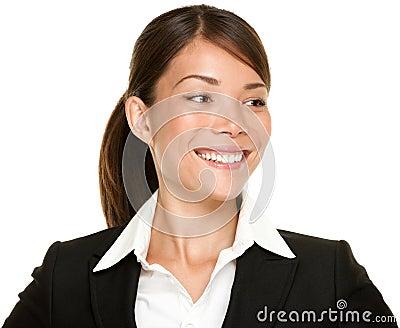 Asian businesswoman looking sideways