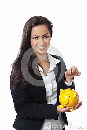 Free Asian Businesswoman Putting Money Royalty Free Stock Image - 25974856