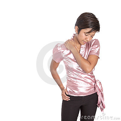 Asian businesswoman suffering from ache on shoulde