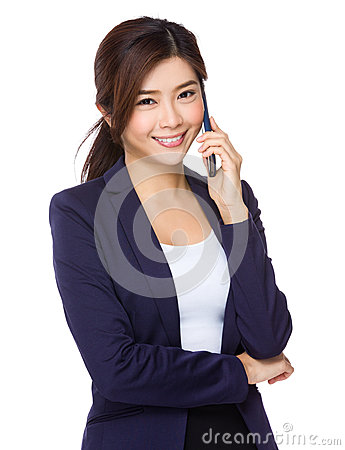 Free Asian Businesswoman Talk To Mobile Phone Royalty Free Stock Image - 50813316