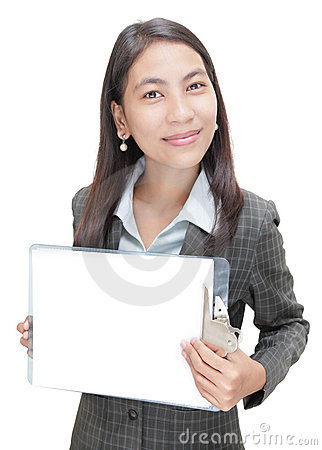 Asian businesswoman w copyspace clipboard