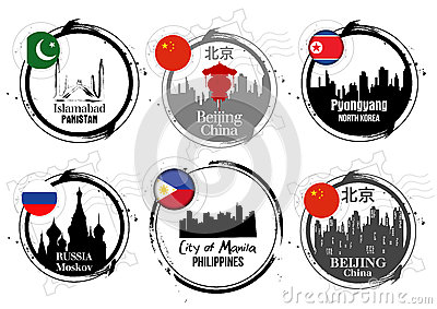 Asian capitals stamps