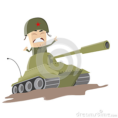 Asian cartoon soldier in a tank