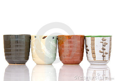 Asian ceramics tea cups set