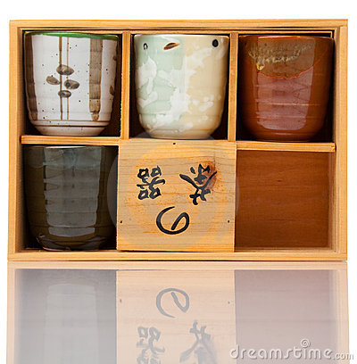 Asian ceramics tea cups set in wood case