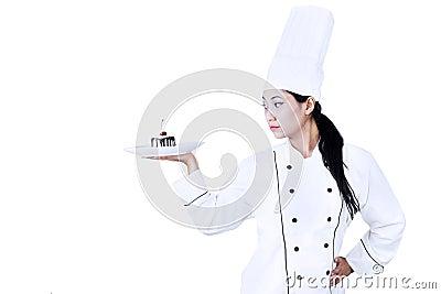 Confident chef and dessert