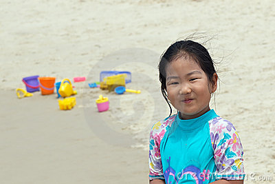 Asian child at the beach