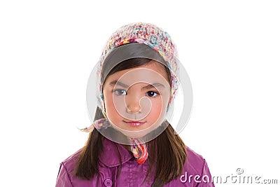 Asian child kid girl winter portrait purple coat and wool cap