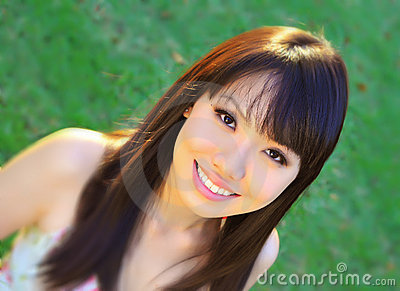 Asian Chinese Girl in the green park