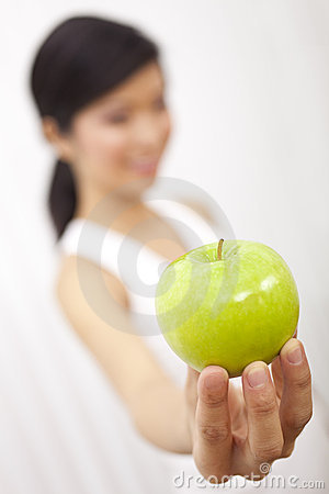 Asian Chinese Girl Holding Fresh Green Apple