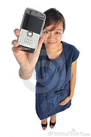 Asian chinese girl showing her mobile phone