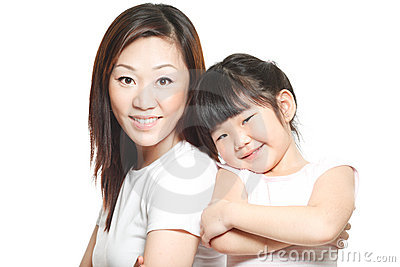 Asian Chinese mother with daughter family portrait