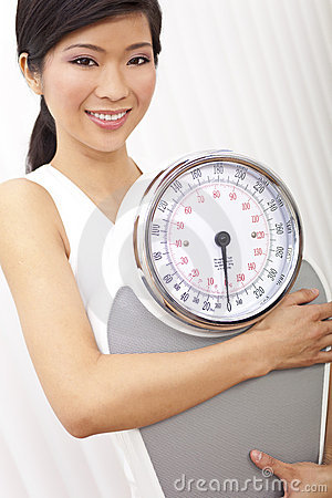 Asian Chinese Woman With Weighing Scales at Gym