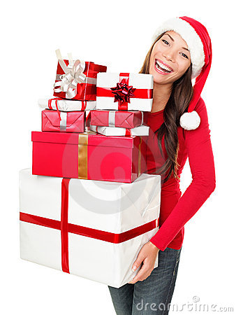 Free Asian Christmas Santa Woman Shopping Gifts Stock Image - 21209891