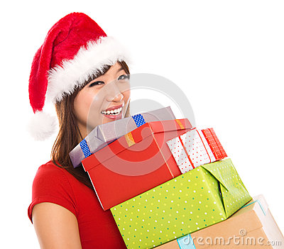 Asian Christmas woman holding gifts