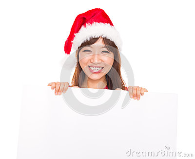 Asian Christmas woman over billboard sign