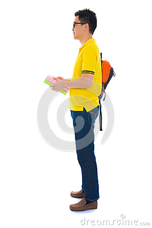 Free Asian College Student With Bag Isolated On White Background Royalty Free Stock Photography - 34206357