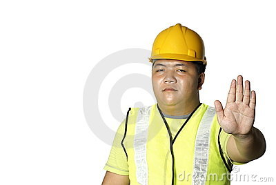 Asian construction worker stop