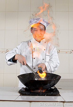 Asian cook at work