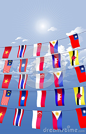 Asian countries decorated and hanging the Asian fl