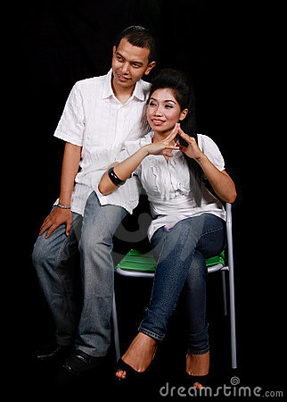 Asian couple on black