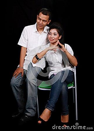Asian couple on black