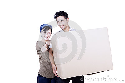 Asian couple and box - isolated