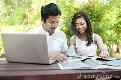 Asian Couple Students Studying