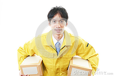 Asian courier delivering a package Stock Photo