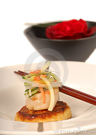 Asian crabcake and scallop appetizer