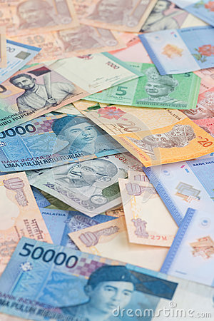 Asian currencies close up