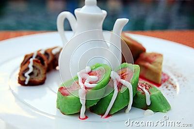 Asian dessert green banana pastry cake