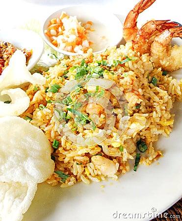 Asian dish seafood fried rice