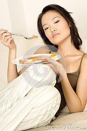 Asian Eating Breakfast