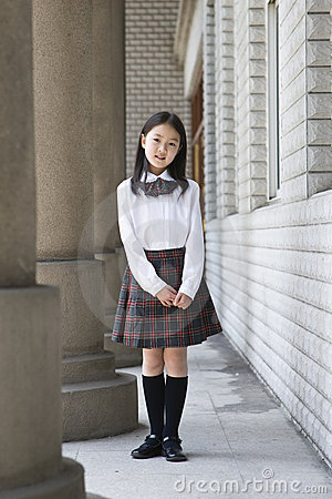 Asian elementary schoolgirl