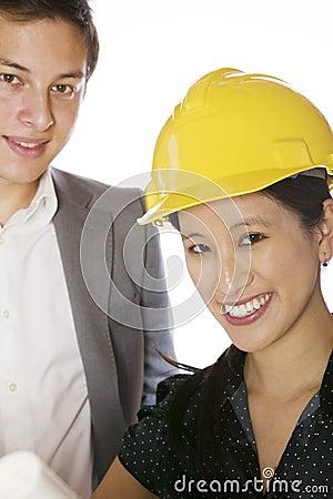 Asian engineer architect