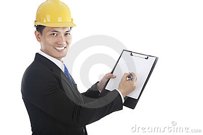 Asian engineer with paper work
