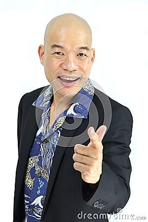 Bald Asian entrepreneur